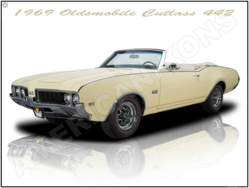 1969 Oldsmobile Cutlass 442 Convertible New Metal Sign: Fully Restored