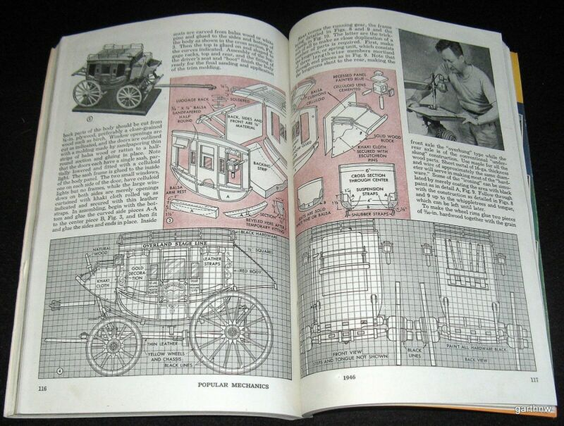 OVERLAND PONY EXPRESS STAGECOACH 1946 SCALE MODEL PLAN & DESIGN PICTORIAL