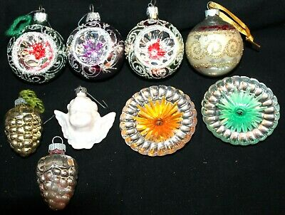 Christmas Ornaments Sale (VINTAGE LOT 9 ASSORTED CHRISTMAS ORNAMENTS 3 UNMARKED INDENTS ESTATE SALE)
