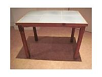 "SMALL PINE COFFEE TABLE TILED TOP 2'4""W 17""D 18""H"