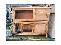 2x Two Tier Double Rabbit Hutch Cage