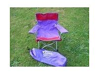 """Kool Kids"" Camping Childs Directors style chair in Purple & Red with carry bag by Gelert."
