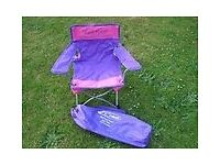 """Kool Kids"" Camping Childs Directors style chair in Purple & Pink with carry bag by Gelert."