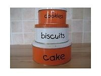Set of 3 storage tins- cake/biscuits/cookies