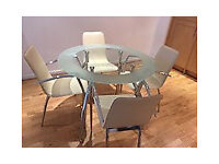 Dining Table and 4 cream leather chairs