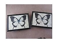 BEAN BAG LAP TRAYS BUTTERFLY DESIGN SOLD AS A PAIR
