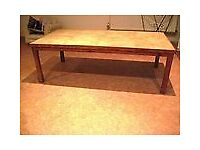 "LARGE PINE COFFEE TABLE TILED TOP 4'W 2'2""D 17""H"