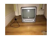 SMALL SCHNEIDER TV WITH VHS PLAYER AND REMOTE CONTROL