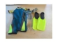 Diving/Snorkelling Fins, Wetsuit and Mask for children.