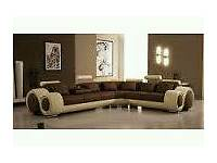 Large Brown and Cream Corner sofa - very good condition