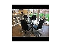 Designer glass and chrome round dining table, diameter approx 137cm, with 6 chairs