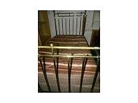 Original Victorian single brass bed with base and mattress
