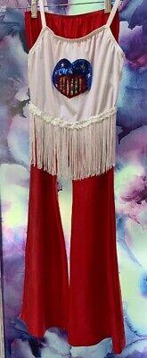 HIPPIE COSTUME SIZE M(10/12) KIDS RED/WHITE/BLUE FRINGE HEART HALLOWEEN (Cute Hippie Kostüm)