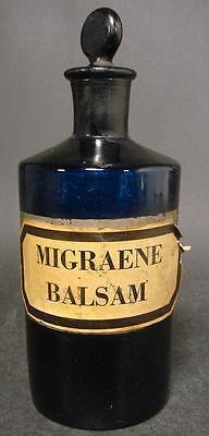 Apothekenflasche MIGRAENE BALSAM, Frankreich 19.Jh. Abriss.