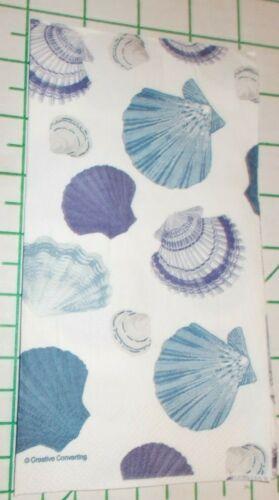 "Two Decorative Hostess Napkins for Decoupage ""Navy Seashells"""