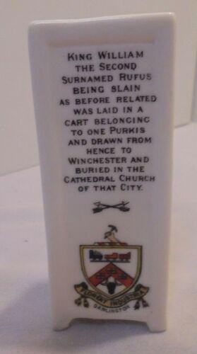 "Goss Miniature Monument, 3 Sides, Oak Tree, King William 2nd, 3.75"" Tall Vintage"