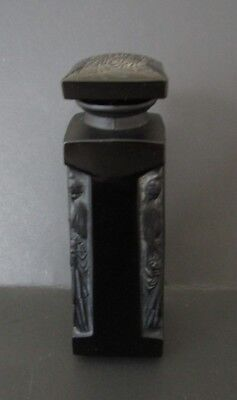 (Antique Lalique Perfume Bottle, Elegant Black Glass, Lady Figural Ambre D'Orsay)