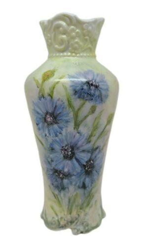 Vintage? Floral Hand Painted Vase Green Purple Signed Essie Collectible Décor