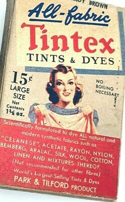 Vintage TINTEX All Fabric Tint and Dye BROWN Color 1 1/2 ounce size