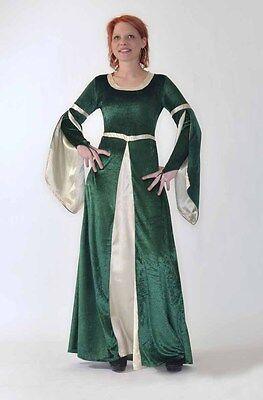 Mittelalter Kleid Grün (Mittelalter Kleid Gewand Königin Burgfräulein Karneval Kostüm Hofdame LARP FK09)