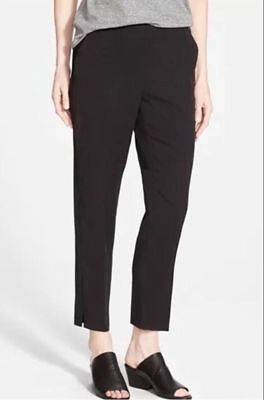 Tencel-twill (NWT EILEEN FISHER Black Tapered Tencel Twill Ankle Pants PS $178 Petite Small)