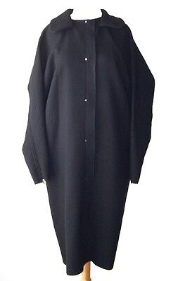 LANVIN Black Wool Deconstructed Snap Front Coat  M L
