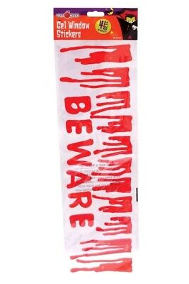 Halloween Gel Window Stickers Clings bloody beware free uk p&p  - Halloween Window Clings Uk