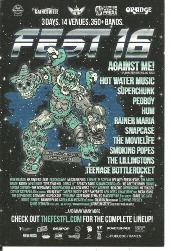 Fest 16 Promo Card Against Me! Hot Water Music Lillingtons Teenage Bottlerocket
