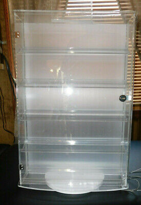 Acrylic Rotatable Display Locking Case Jewelry Display With 10 Shelves Dbl Sided