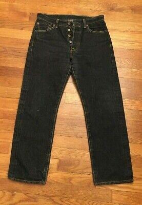 Levi's Levis 501 Button Fly Denim Jeans Black Straight Leg Men's Size 30x27