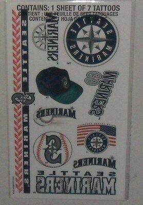 MLB 1 SHEET 7 TEMPORARY TATTOOS  SEATTLE MARINERS FREE SHIPPING