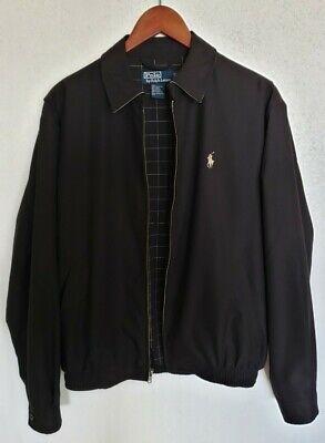 Vintage Polo Ralph Lauren Men's Black Harrington Zip Jacket Plaid Lining Small