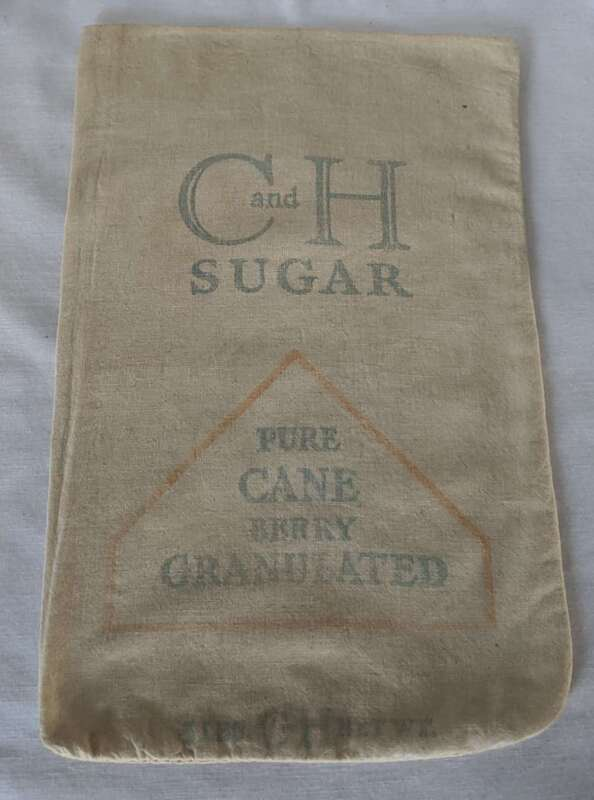 Vintage C And H Pure Cane Sugar 5 lbs. Cloth Sack Bag
