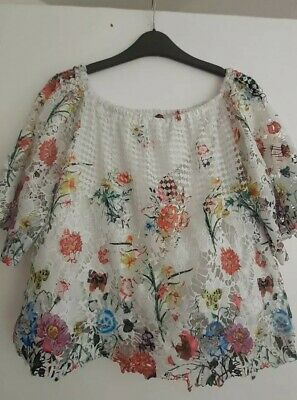Lovely Short Lined,Printed Lace,Swing Top.Elasticated Neck.Size L(But 14)By QED for sale  Manchester