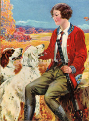 ANTIQUE REPRO PHOTOGRAPH PRINT 8X10 HUNTING WOMAN ENGLISH SETTERS DOUBLE SHOTGUN