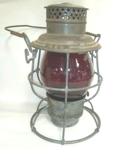 CM & St. P Ry Railroad Lantern with Tall Red Embossed Globe ~ Adams & Westlake