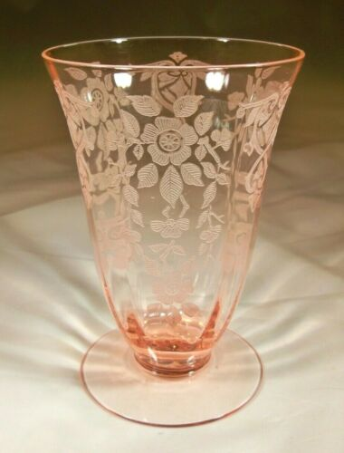"CAMBRIDGE APPLE BLOSSOM PEACHBLO PINK #3130 10-OUNCE 4-7/8"" TALL FOOTED TUMBLER!"