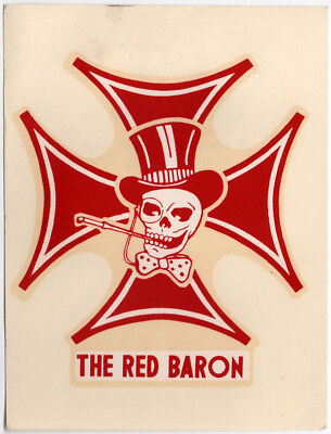 Vtg Water Slide Decal The Red Baron Red Skull Iron Cross Hot Rod Motorcycle (Red Skull Iron Cross)