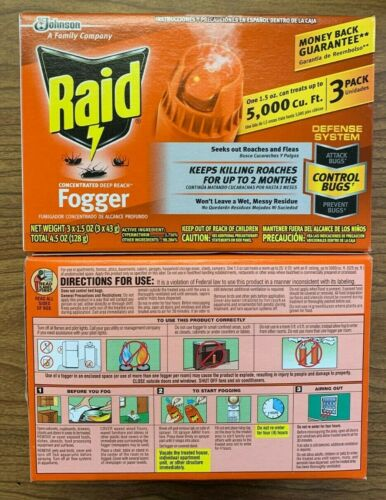 Raid Concentrated Deep Reach Fogger 3 pack Kills Roaches up to 2 mos. (Lot of 2)