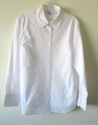DRESS SHIRT BLOUSE WHITE LACE EMBROIDERY COTTON MIX EDWARDIAN STEAMPUNK Sz 14