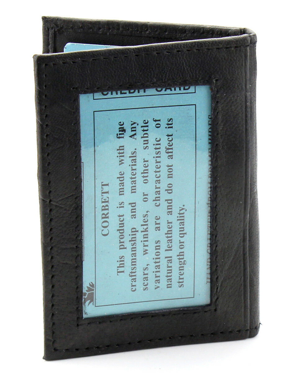 New Mens Slim Thin Bifold Leather ID Wallet Black Credit Car