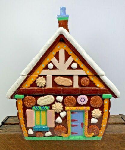 """MCM Vintage 13"""" Ceramic Gingerbread House Candies Cookie Jar Hand Painted"""