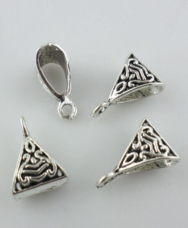 60pcs Tibetan silver triangle Connectors Spacer Beads Bails Charms Pendant