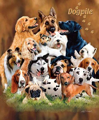 Signature Collection Dog Pile Lots of Puppies Soft Plush Blanket Queen Size