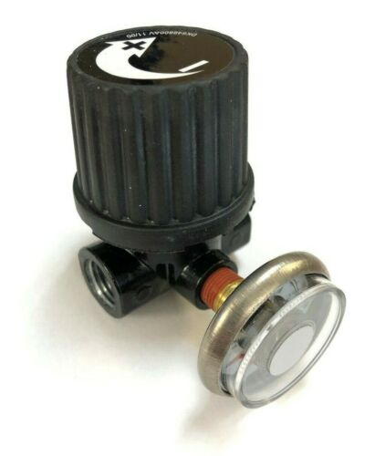 """AIR COMPRESSOR 1/4"""" FPT MINI REGULATOR WITH GAUGE FOR SMALL AIR COMPRESSORS"""