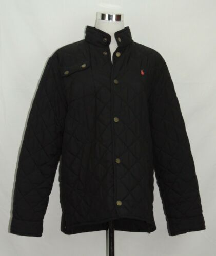 Polo Ralph Lauren Jacket Coat Solid Black Quilt Red Pony Button Kid