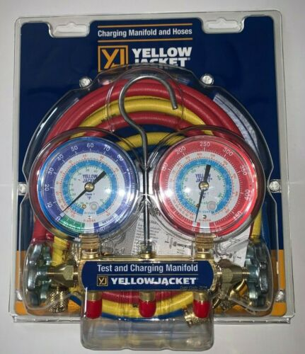 """Yellow Jacket 42006 Refrigeration Manifold with 60"""" Hoses, R-22 / 404a / 134a"""