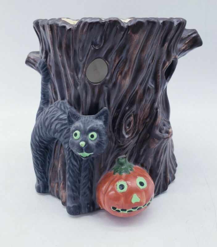 Yankee Candle Halloween Tart Warmer Black Cat Pumpkin Vintage