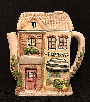 "CUTE ""FLORIST SHOP"" TEAPOT Ceramic Made by Starite Industries Inc. VINTAGE"