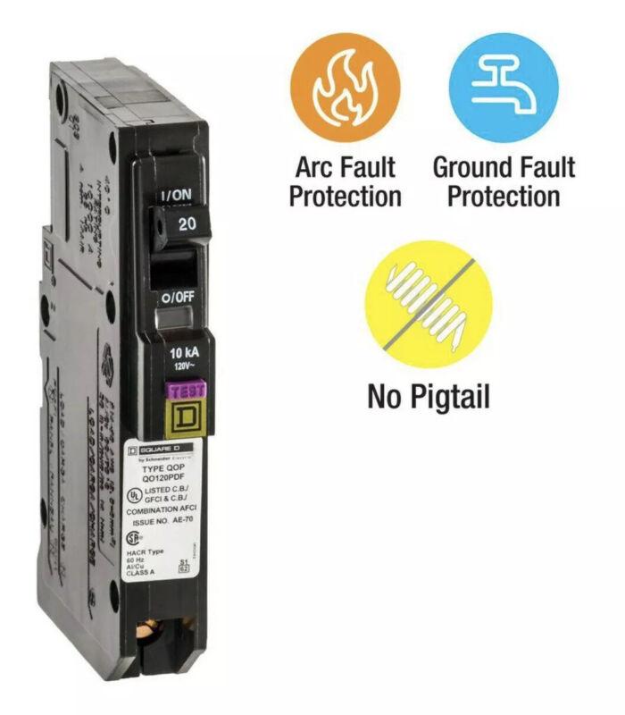 New Square D QO QO120PDF QO120PDFC 20 Amp Single Pole Circuit Breaker New No Box